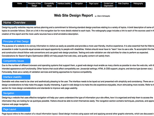 Web Site Design Report